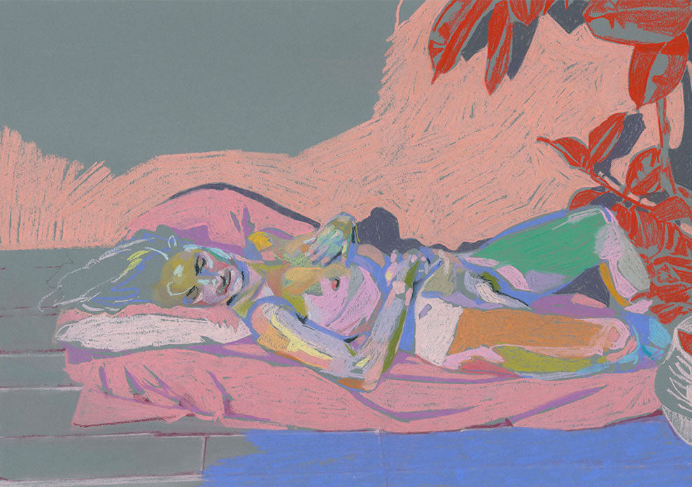 Nude on Grey with Red Plant | Hester Finch | Pastel on Paper | Giclée Print on Watercolour Paper | Partnership Editions