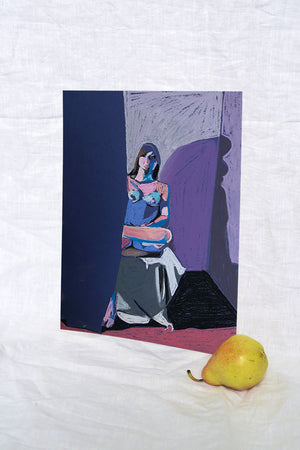 Nude on Blue with Pink Ground and Curtain