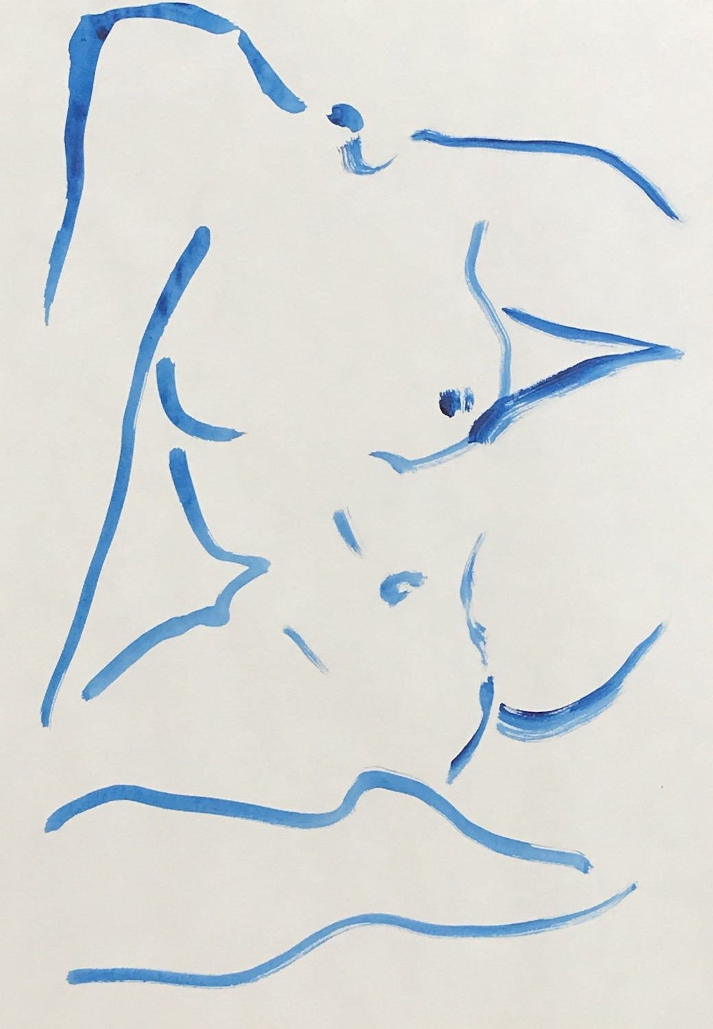 Nude in blue wash 2 | Alexandria Coe | Original Artwork | Partnership Editions