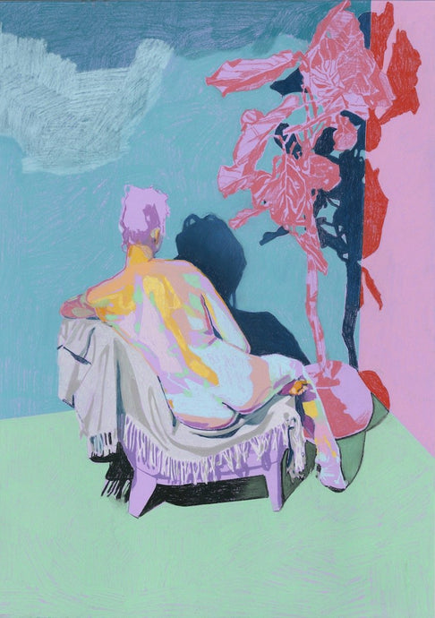 Nude on Purple with Green Ground and Pink Plant