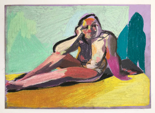 Nude on Purple with Yellow Ground