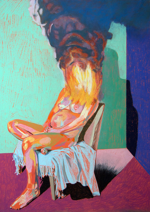 Nude on fire with pink ground & turquoise wall | Hester Finch | Original Artwork | Partnership Editions