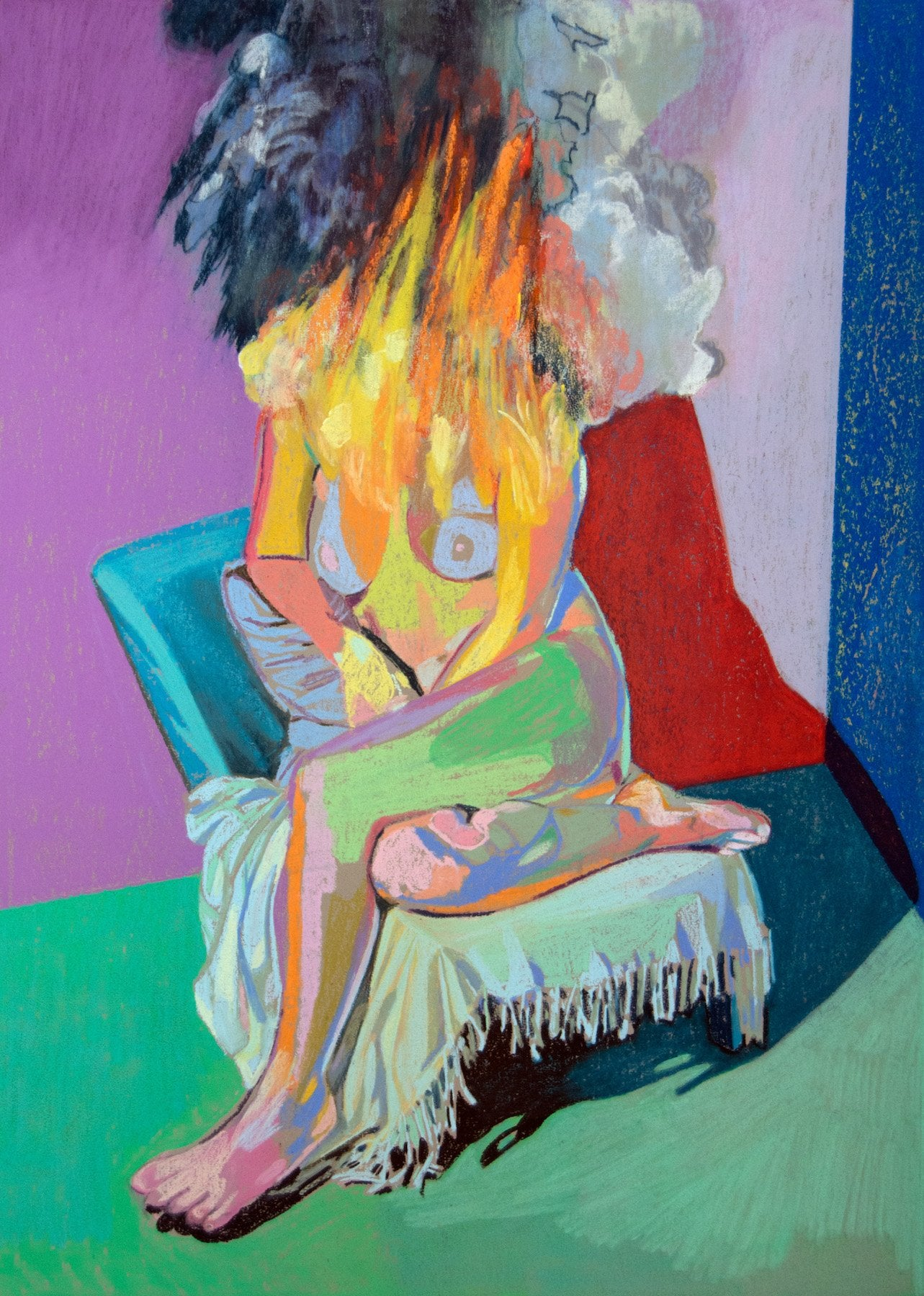 Nude on fire with purple wall & red shadow | Hester Finch | Original Artwork | Partnership Editions