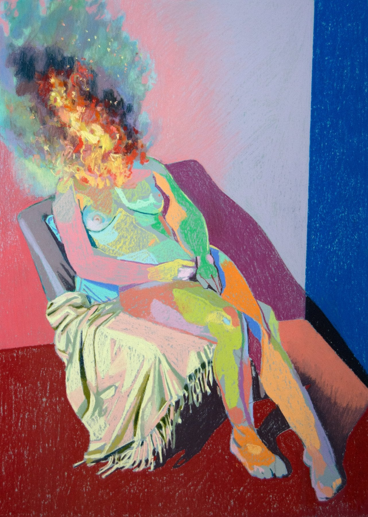 Nude on fire with red ground & blue wall | Hester Finch | Original Artwork | Partnership Editions