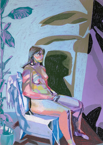 Nude on Purple with Blue Wall and Blue Plant | Hester Finch | Print | Partnership Editions