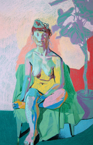 Nude on Blue with Pink Shadow and Turquoise Ground | Hester Finch | Pastel on Paper | Partnership Editions