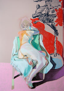 Nude on Gret with Red Shadow & Blue Plant | Hester Finch | Original Artwork | Pastel on Paper | Partnership Editions
