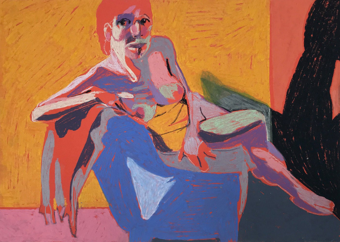 Nude on Orange with Yellow Wall | Hester Finch | Original Artwork |Pastel on Paper | Partnership Editions