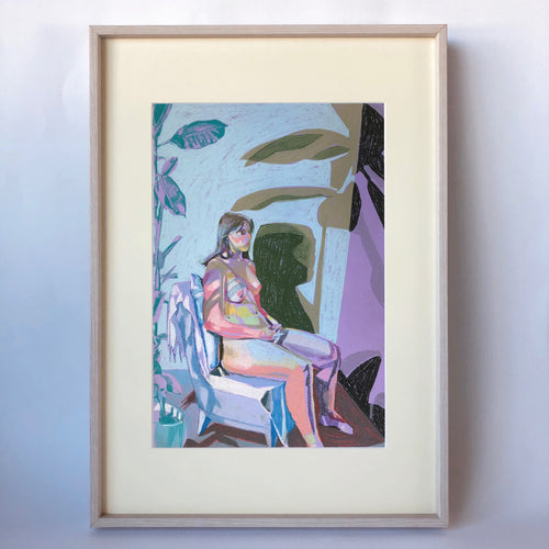 Nude on Purple with Blue Wall and Blue Plant Print