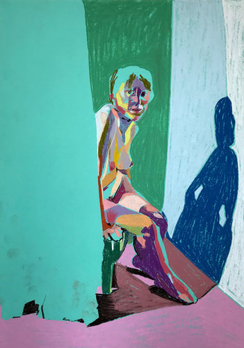 Nude on Turquoise with Curtain and Pink Ground