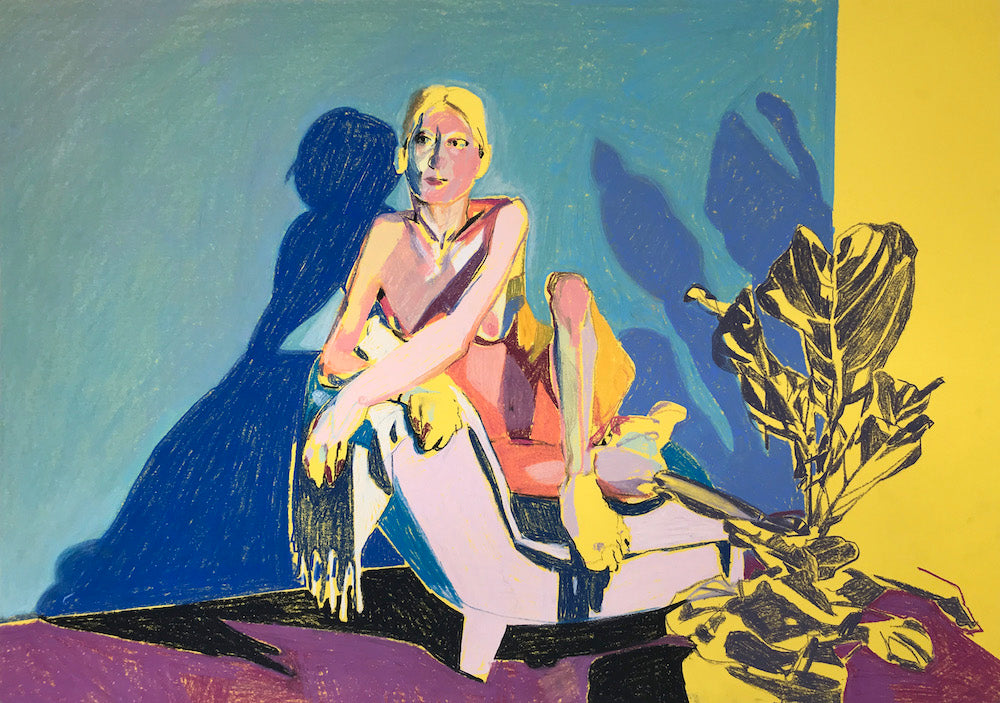 Nude on Yellow with Violet Ground and Plant