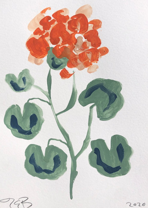 Orange Geranium | Julianna Byrne | Gouache on Paper | Partnership Editions