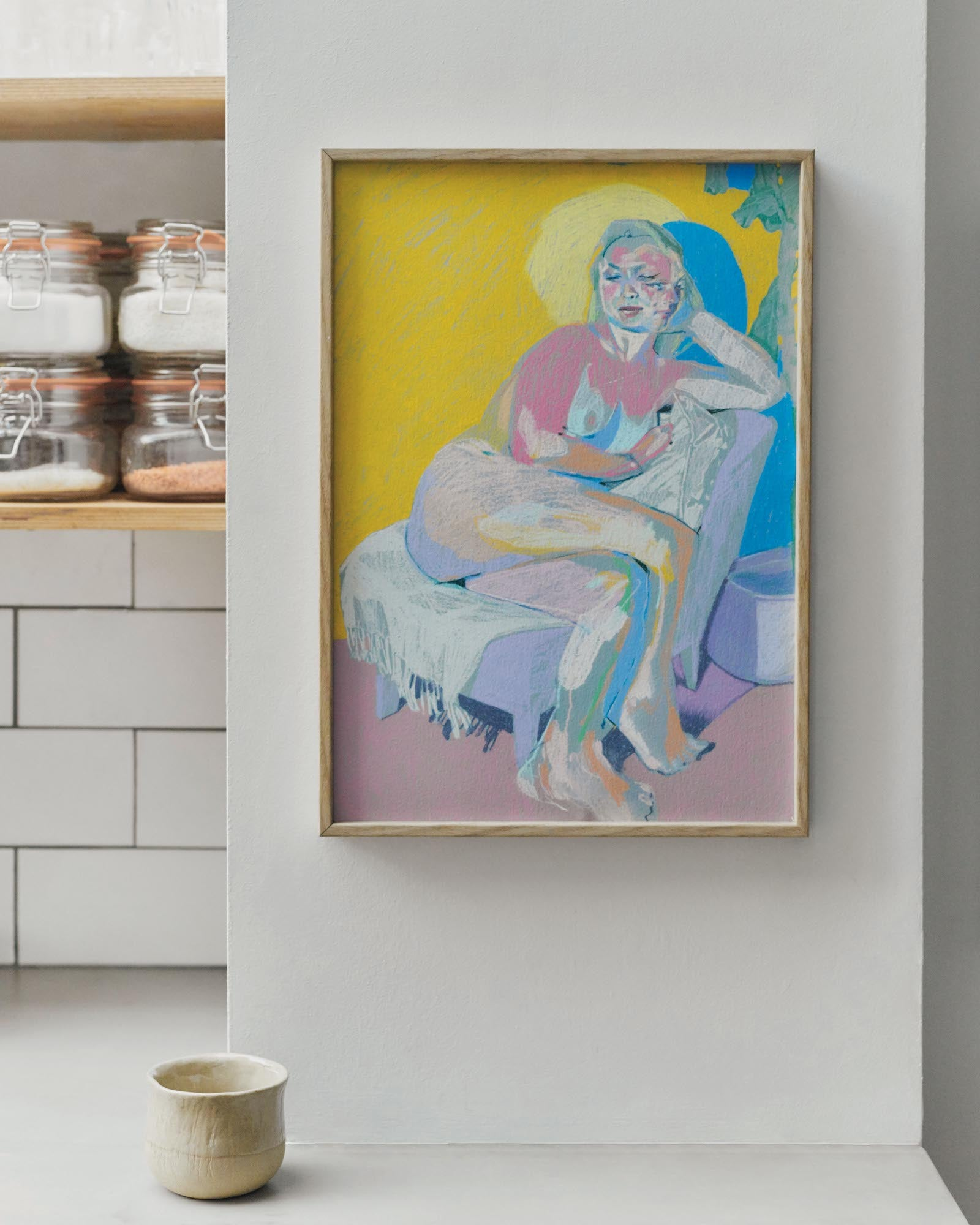 FRAMED Double Face On Grey With Yellow Wall And Pink Ground Print