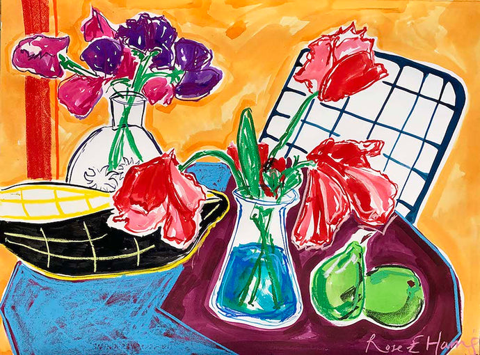Pastis, Sweetpea's and Tulips | Rose Electra Harris | Original Artwork | Partnership Editions