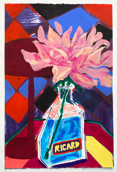Pastis with large Dahlia | Rose Electra Harris | Mixed Media Painting | Partnership Editions