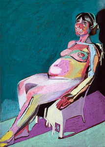 Pregnant Nude on Brown with Turquoise Wall