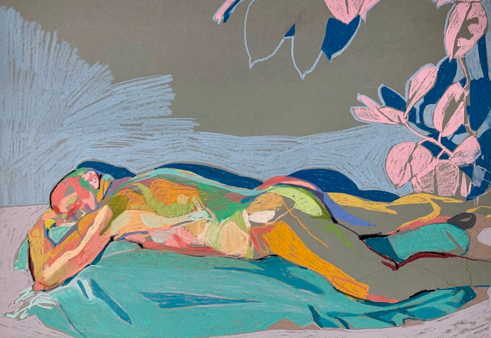Reclining Male Nude on Grey with Pink Plant | Hester Finch | Original Artwork | Pastel on Paper | Partnership Editions