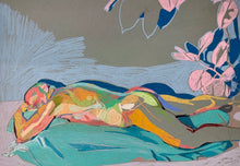 Load image into Gallery viewer, Reclining Male Nude on Grey with Pink Plant | Hester Finch | Original Artwork | Pastel on Paper | Partnership Editions