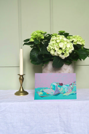 Reclining Nude on Turquoise with Pink Wall