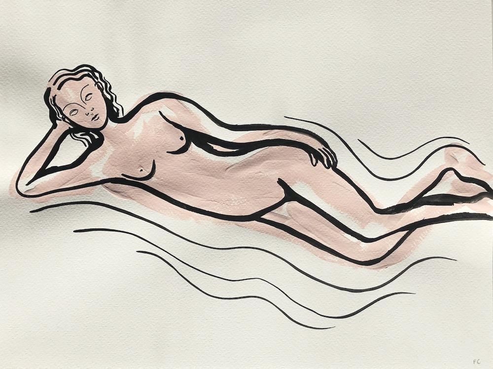 Reclining Nude in pink | Frances Costelloe | Original Artwork | Partnership Editions