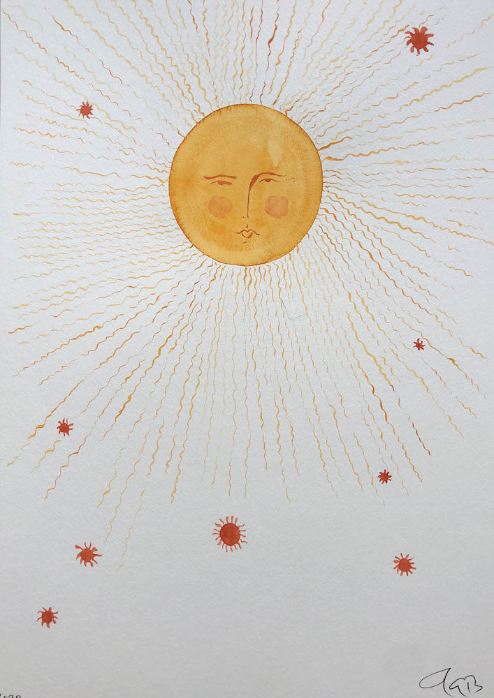 Red Star Sun | Julianna Byrne | Original Artwork | Gouache on Paper | Partnership Editions