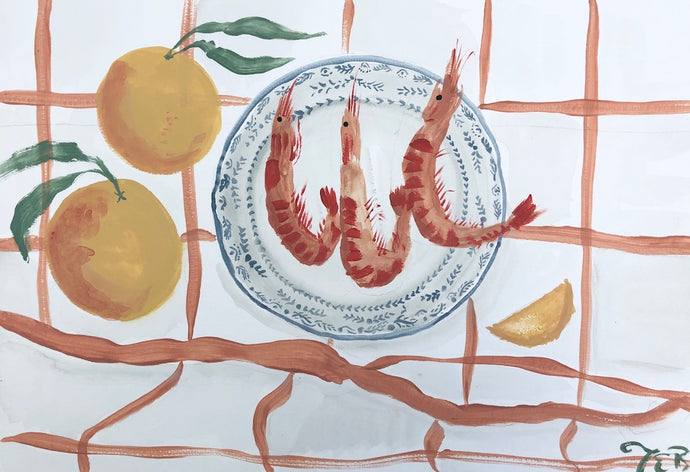 Shrimp on Blue Plate | Julianna Byrne | Original Artwork | Partnership Editions
