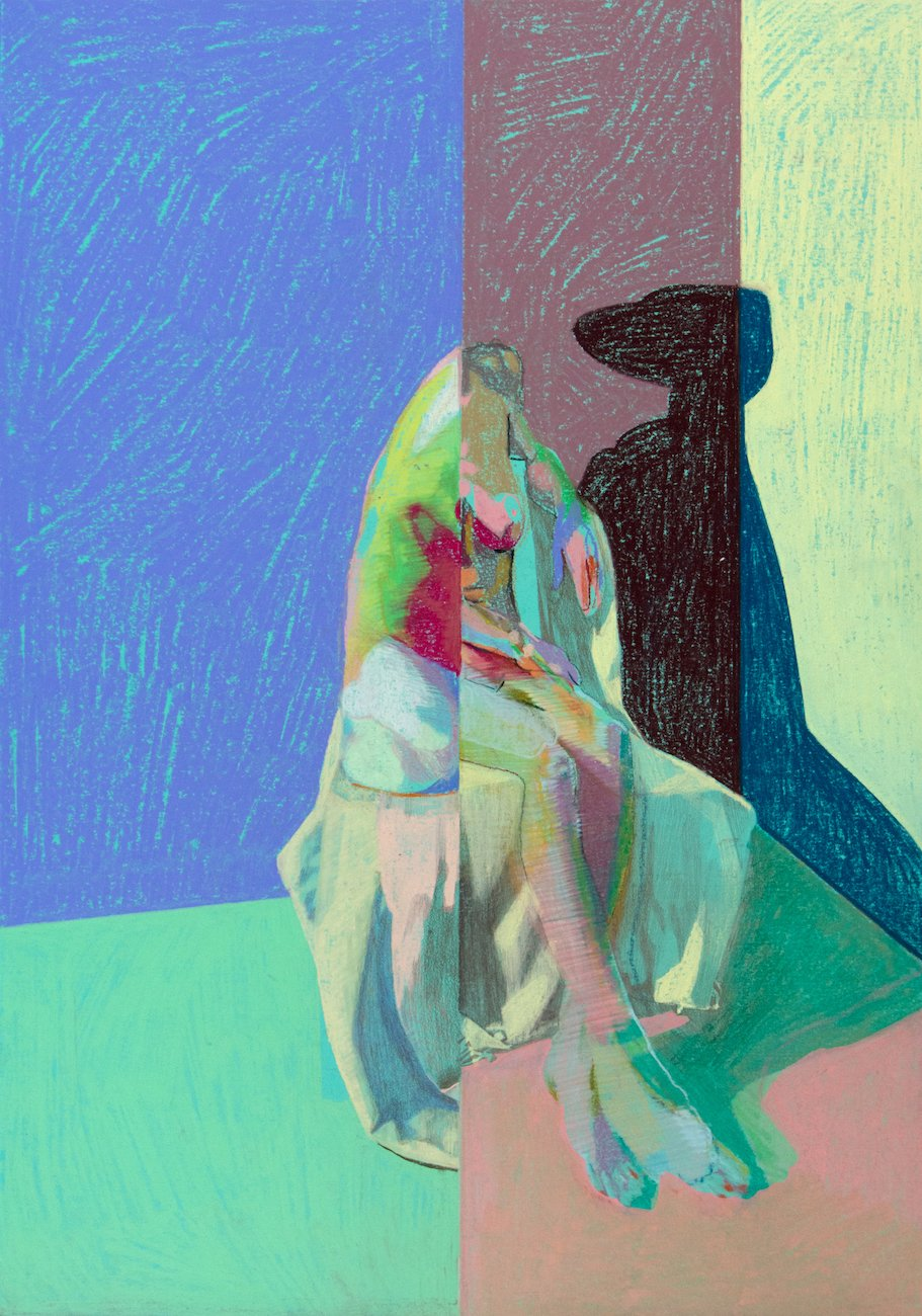 Split nude on turquoise with pink & green ground | Hester Finch | Original Artwork | Partnership Editions