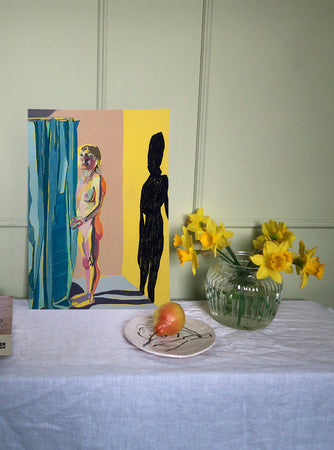 Standing Nude on Yellow with Blue Curtain