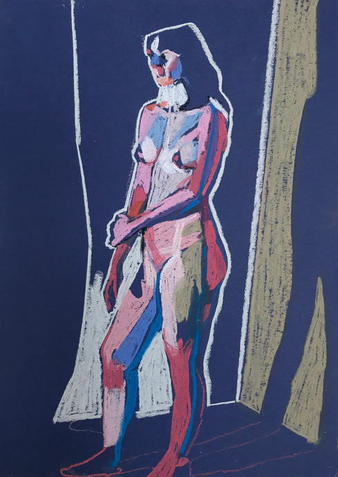 Standing Nude on Blue with White Wall