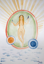 Load image into Gallery viewer, Sun Sea Goddess | Juliann Byrne | Original Artwork | Gouache on Paper | Partnership Editions