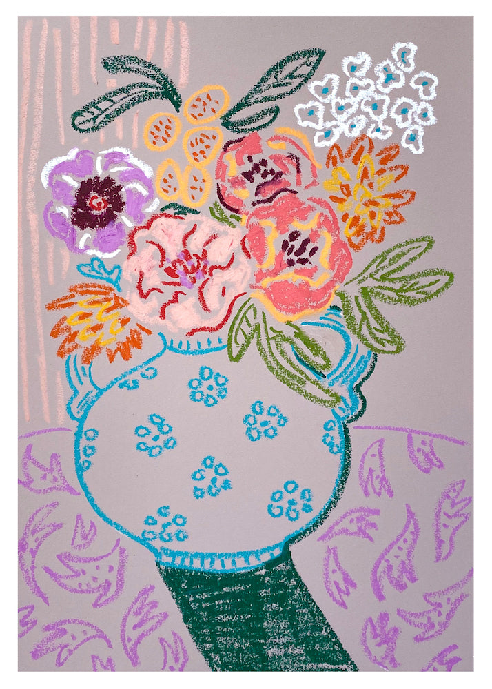 The Blue Daisy Vase | Camilla Perkins | Oil Pastel on Coloured Paper | Partnership Editions