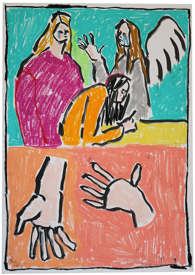 The Hand Models | Isabella Cotier | Indian Ink and Oil Pastel | Partnership Editions