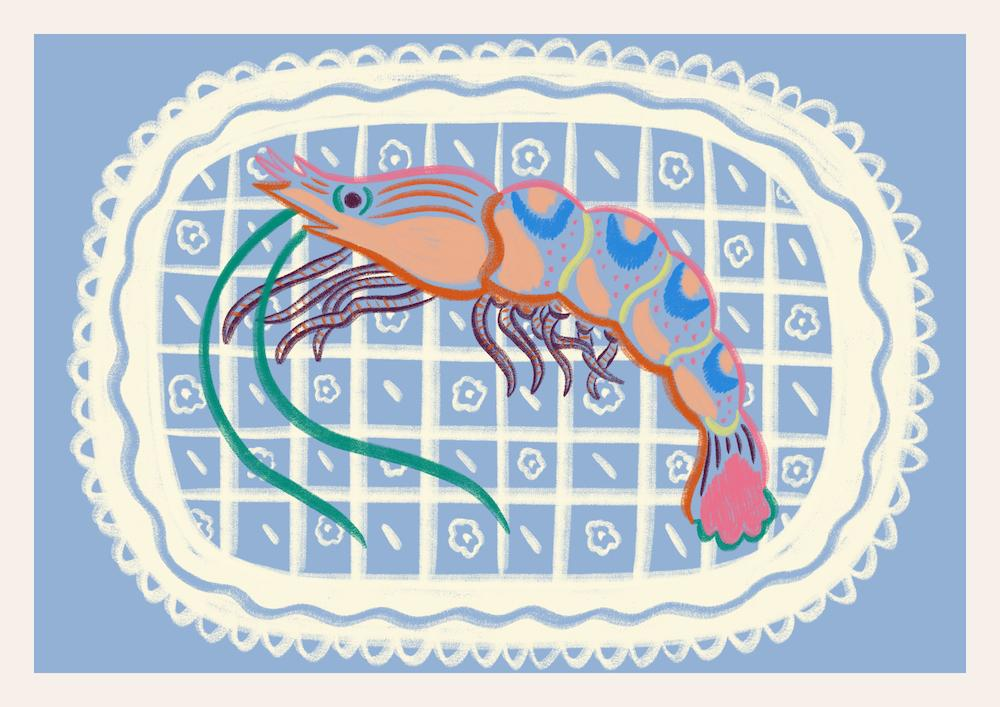 FRAMED Tiger Prawn Study Print