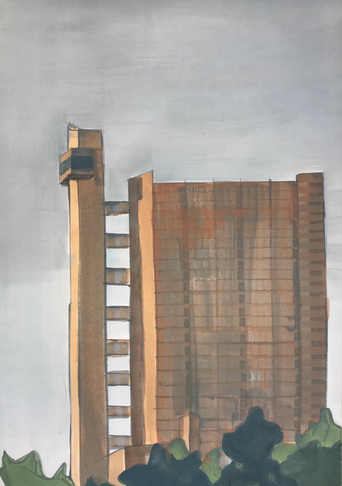 Trellick Tower | Christabel Blackburn | Original Artwork | Oil on Paper | Partnership Editions
