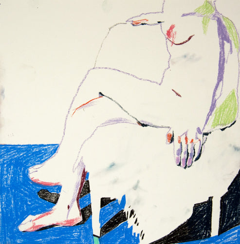 Triptych of Nude on Cream with Blue | Hester Finch | Original Artwork | Pastel on Paper | Partnership Editions