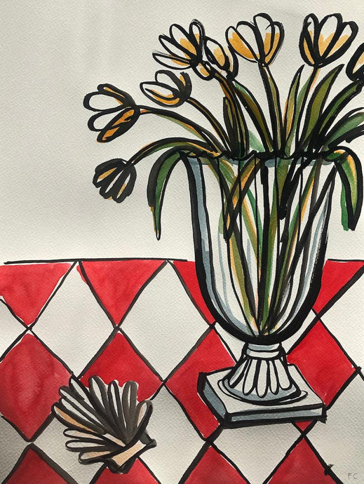 Tulips and scallop shell on checked table | Frances Costelloe | Original Artwork | Partnership Editions