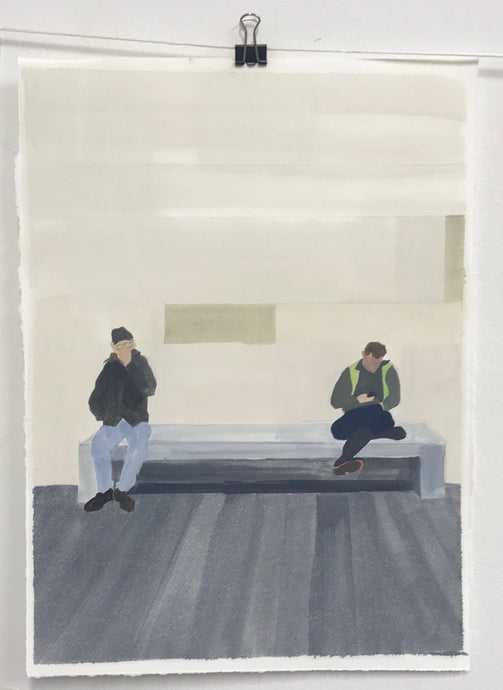 Two Men Southbank | Christabel Blackburn | Original Artwork | Oil on Paper | Partnership Editions