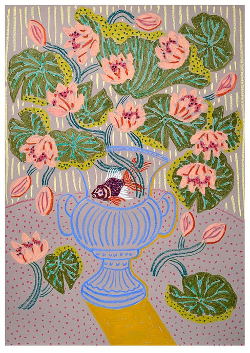 Water Lilies on Pink | Camilla Perkins | Original Artwork | Partnership Editions