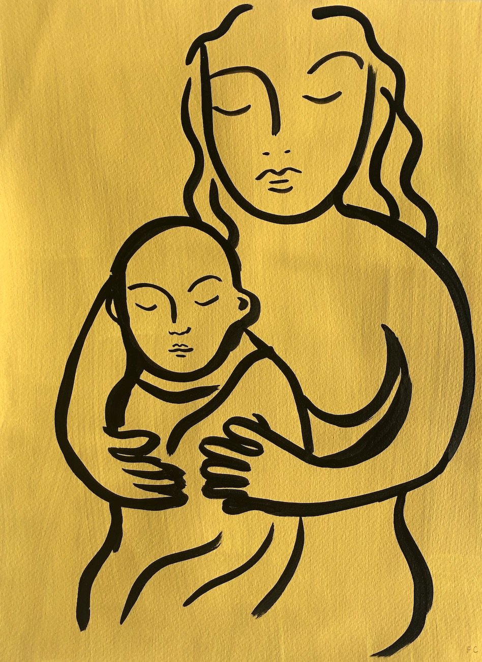Woman holding baby in yellow | Frances Costelloe | Original Artwork | Partnership Editions