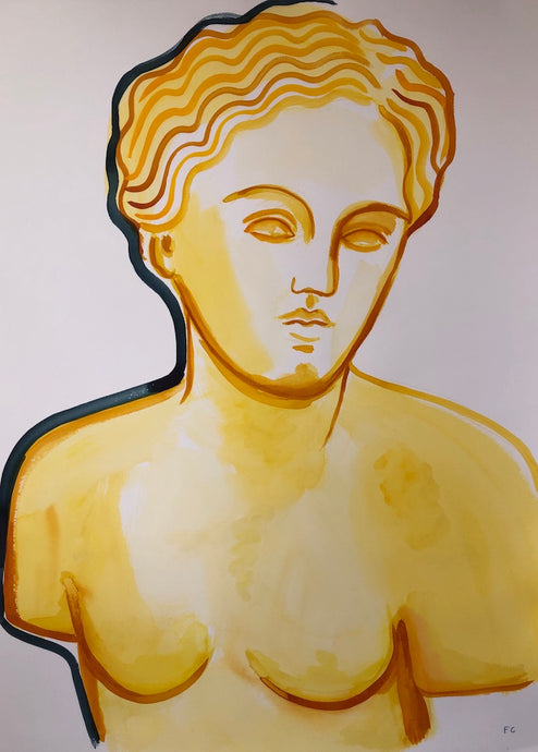 Woman's Classical Bust in Yellow | Frances Costelloe | Original Artwork | Partnership Editions