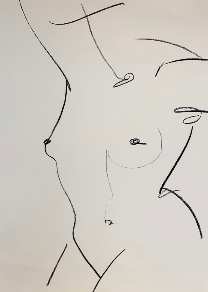 Alexandria Coe | Extra Large Studio Nude 1 | Charcoal on Paper | Original Artwork | Partnership Editions