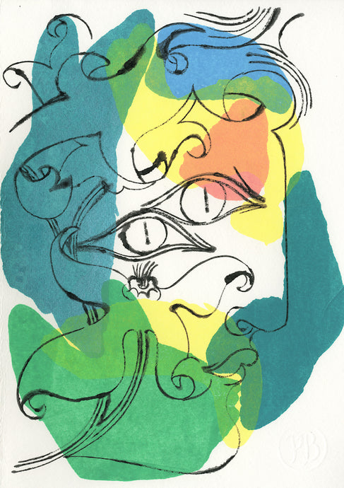 Floral Face 1541A | Petra Börner | Ink and Acrylic on Paper | Partnership Editions