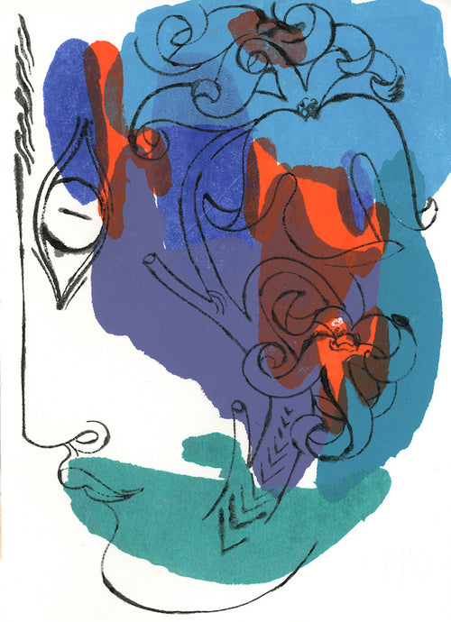 Floral Face 1542A | Petra Börner | Ink and Acrylic on Paper | Partnership Editions