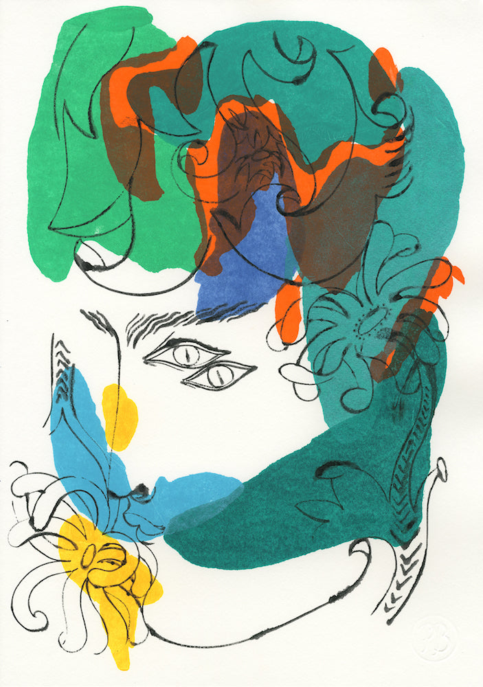 Floral Face 1549A | Petra Börner | Ink and Acrylic on Paper | Partnership Editions