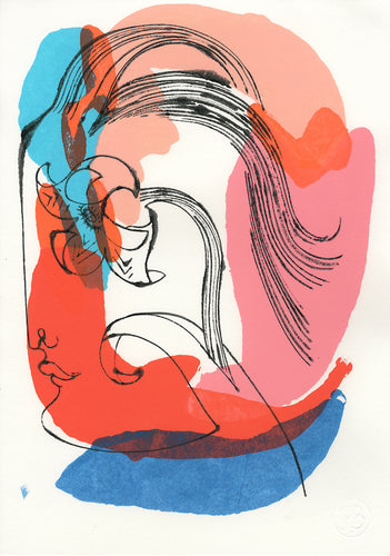 Floral Face 1555A | Petra Börner | Ink and Acrylic on Paper | Partnership Editions
