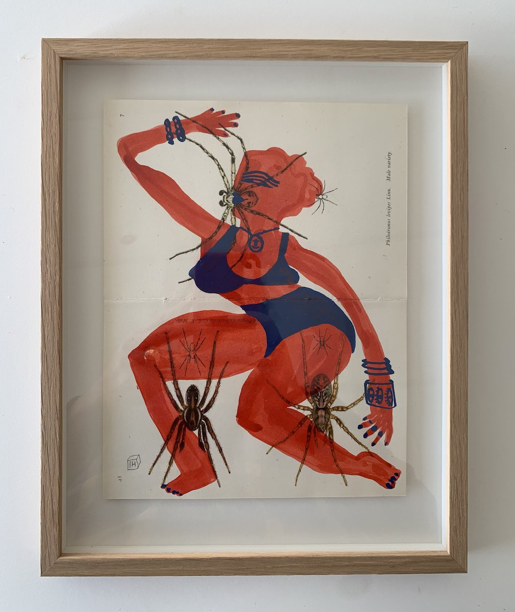 red and blue 3 spiders | Isabelle Hayman | Original Artwork | Partnership Editions