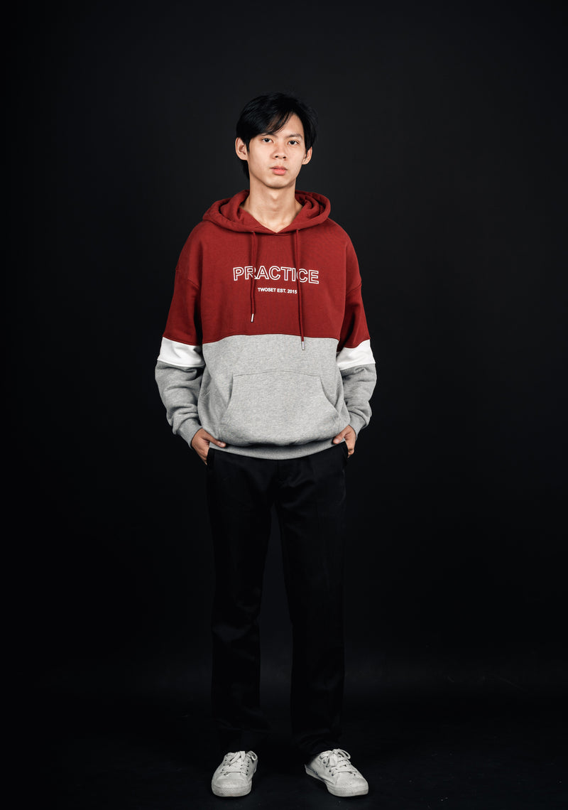 Red Grey Patch Hoodie TwoSet Apparel Musician Clothing