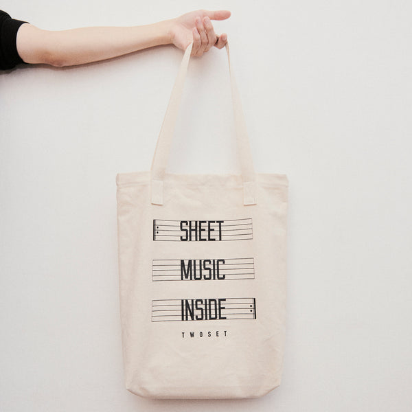 Sheet Music Inside Tote Bag TwoSet Apparel Gift Piano Violin Lesson
