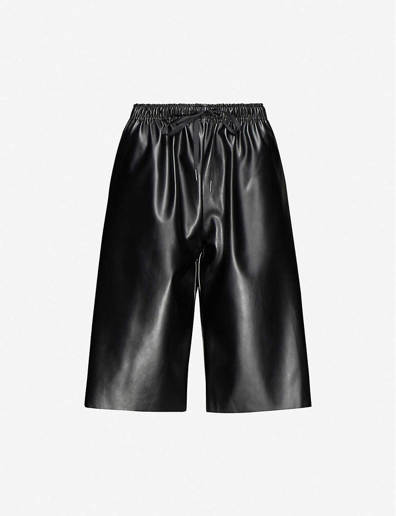 Drawstring Faux-Leather Shorts