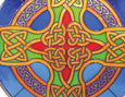 Celtic Cross Round Panel Blue